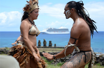Rapa Nui couple girl and man dance Easter Island moai statue, cruise ship