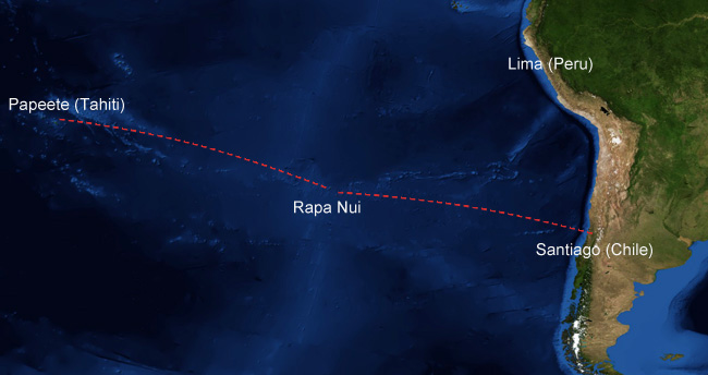 Map of flight connections to Rapa Nui (Easter Island)
