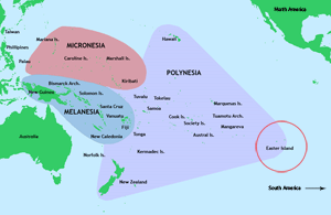Map of Polynesia in the Pacific Ocean.