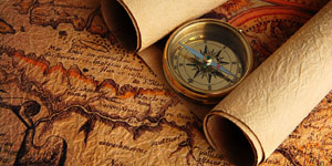Paper map with compass