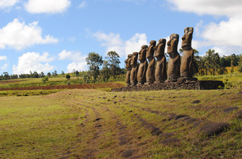 Easter Island moai statues of Ahu Akivi facing the ocean.