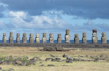 Ahu Tongariki moai statues lined up in a row.