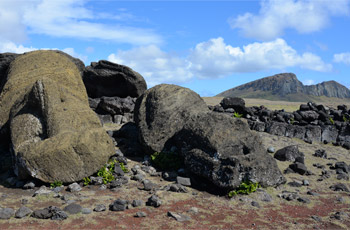 Fallen statues at One Makihi with Rano Raraku quarry in background, Rapa Nui (Easter Island)