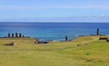 Restored moai statues of Tahai, ancient Easter Island village