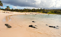Sandy beach of Anakena with clouds