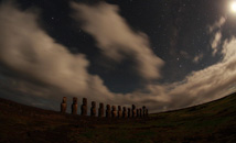 Ahu Tongariki in moonlight with Milky Way at Rapa Nui (Easter Island)