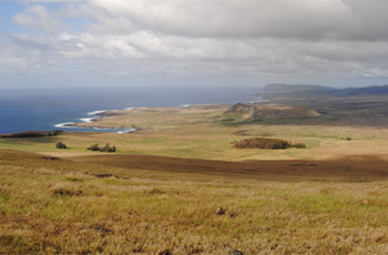 Panoramic view of Easter Island from Pū a Katiki, top of Poike.