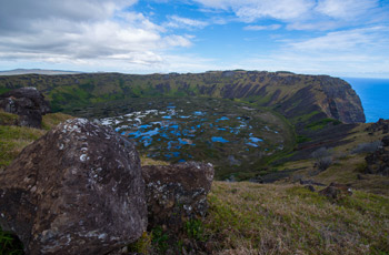 Crater lake of volcano Rano Kau at Easter Island (Rapa Nui)