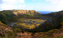 Rano Kau volcano panorama with crater lake at Rapa Nui (Easter Island)