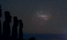 Ahu Akivi at night with starry sky and large magellanic cloud at Rapa Nui (Easter Island)