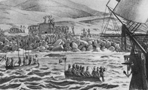 Russian ship Rurick arrives to Easter Island while Rapa Nui natives are waiting by the shore