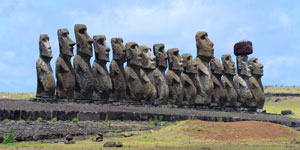 15 moai statues of Ahu Tongariki lined up