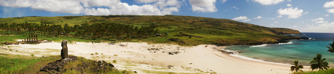 Anakena of Rapa Nui (Easter Island) where first king Hotu Matu'a and his fellow settlers disembarked.