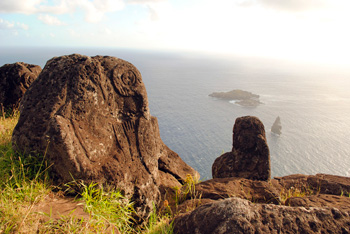 Birdman petroglyphs and view over Motu Nui from Orongo.