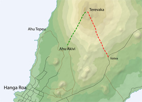 Close up of map of Terevaka hiking trail at Rapa Nui (Easter Island)