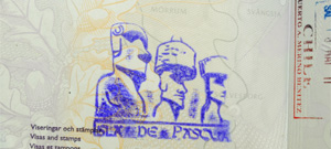 Passport with moai statue stamp