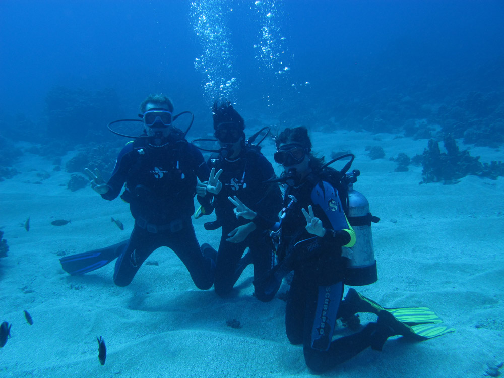 Scuba divers at the bottom of the ocean