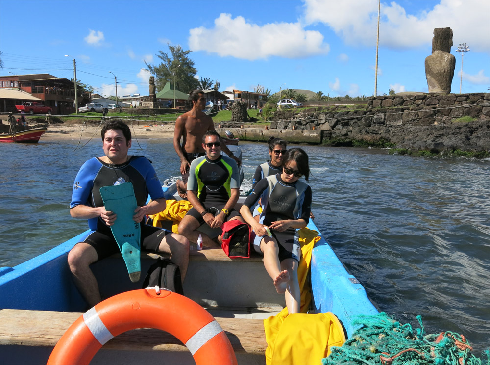 Leaving Easter Island harbor on boat