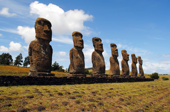 The seven statues of Ahu Akivi in the interiors of Easter Island.