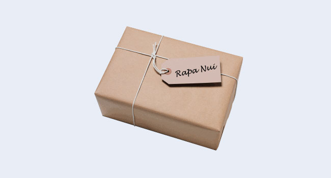 Brown paper package with Rapa Nui note